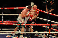 lightweight bout.<br /> Gavin Rees of Wales (r)  v Gary Buckland of Wales. 'The second coming'  boxing event at the Motorpoint Arena in Cardiff, South Wales on Sat 17th May 2014. <br /> pic by Andrew Orchard, Andrew Orchard sports photography.