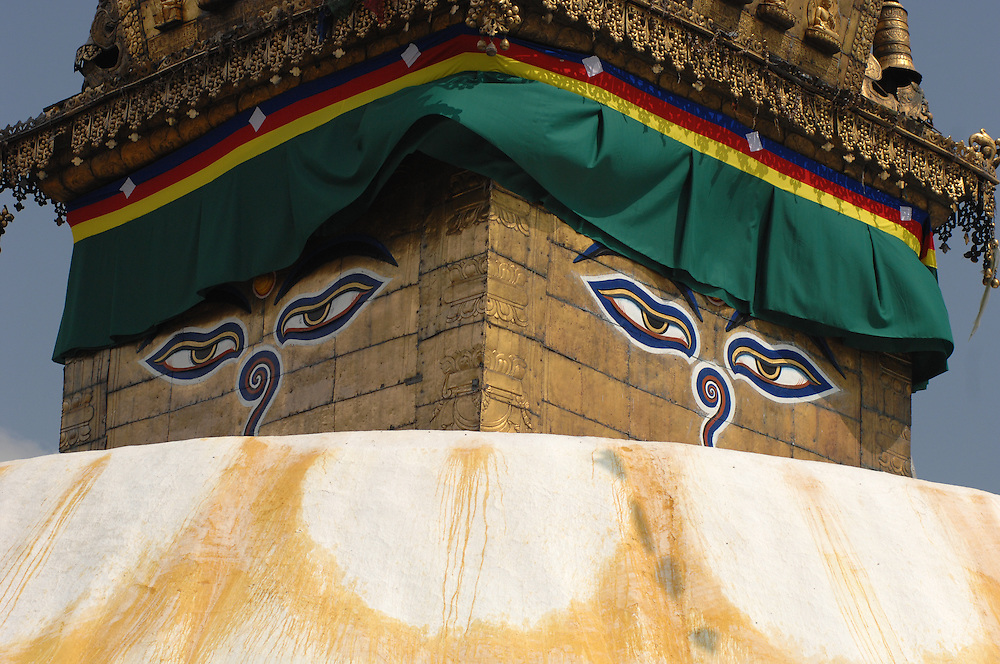 A close-up of the eyes on the Swayambhunath stupa - the Monkey Temple - in Nepal