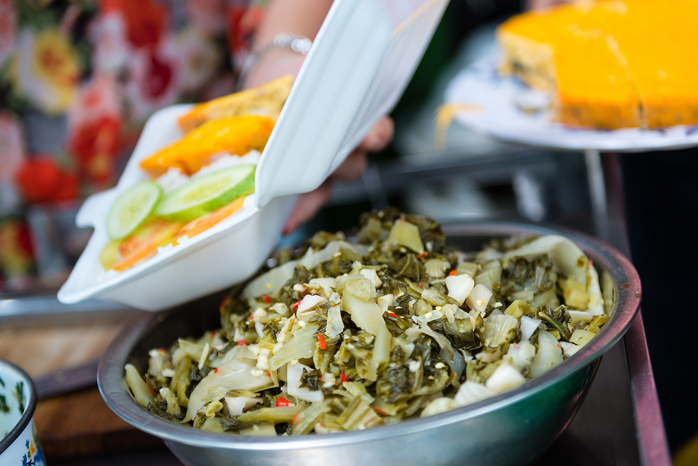 Pickled vegetable dish at a street food stall in Saigon