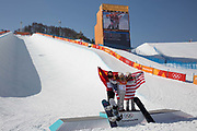 Chloe Kim, USA, GOLD with Jiayu Liu, China, SILVER and Arielle Gold, USA BRONZE following the womens halfpipe final at the Pyeongchang Winter Olympics on 13th February 2018 at Phoenix Snow Park in South Korea