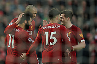 Football - 2019 / 2020 Premier League - Liverpool vs. Southampton<br /> <br /> Liverpool's Mohamed Salah celebrates scoring his sides third goal # <br /> <br /> Colorsport / Terry Donnelly