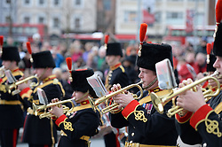 © Licensed to London News Pictures. 09/02/2014. Woolwich, London, England. The Royal Artillery band play as they say goodbye to Woolwich on February 9, 2014 in London, England. After a 250 year association with the Barracks, The Royal Artillery are moving to Wiltshire in April as part of a restructuring by the Ministry of Defence<br /> Photo credit : Mike King/LNP