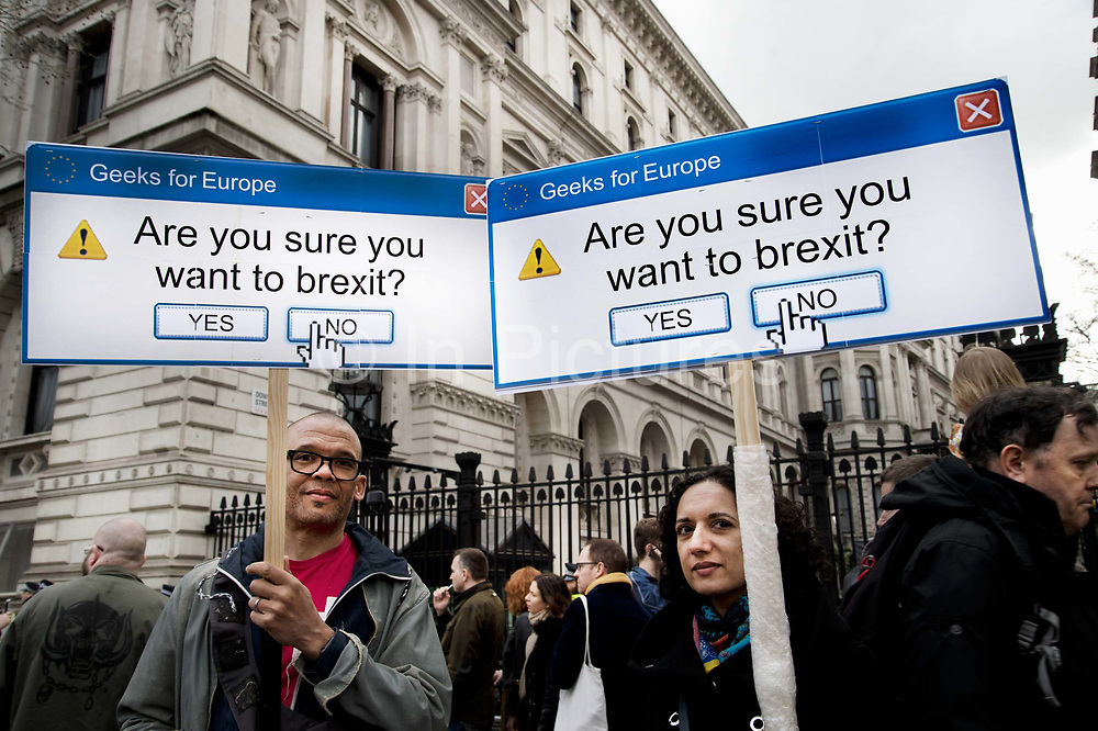 Put It To The People march for a Peoples Vote on 23rd March 2019 in London, United Kingdom. With less than one week until the UK is supposed to be leaving the European Union, the final result still hangs in the balance and protesters gathered in their tens of thousands to make political leaders take notice and to give the British public a vote on the final Brexit deal. Geeks for Europe placards ask Are you sure you want to Brexit