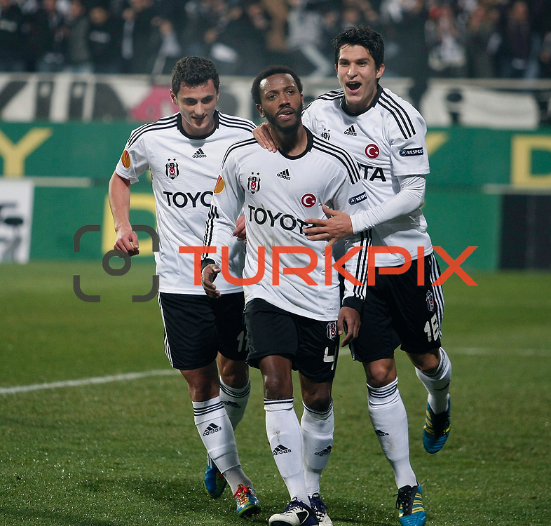 Besiktas's Manuel Fernandes (C) celebrates his goal with a teammate during their UEFA Europa League Group Stage Group E soccer match Besiktas between Stoke City at Inonu Stadium in Istanbul Turkey on Wednesday, December 14, 2011. Photo by TURKPIX