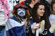 15.02.2015. Edinburgh. RBS 6 Nations 2015 Scotland v Wales.  Scottish fan in full face paint. from Murrayfield Stadium, Edinburgh.