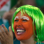 An Irish fan during the Ireland V Italy Pool C match during the IRB Rugby World Cup tournament. Otago Stadium, Dunedin, New Zealand, 2nd October 2011. Photo Tim Clayton...