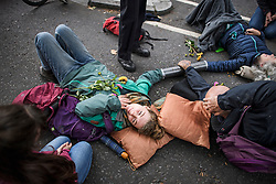 © Licensed to London News Pictures. 07/10/2019. London, UK. Extinction Rebellion protestors glued to the ground near Parliament Square in Westminster. Activists will converge on Westminster blockading roads in the area for at least two weeks calling on government departments to 'Tell the Truth' about what they are doing to tackle the Emergency. Photo credit: Ben Cawthra/LNP