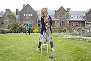 Playing croquet in the garden at Pickwell Manor. From left to right: Molly Elliott (10), Zac Baker (11), Milly-grace (8). Pickwell Manor, Georgeham, North Devon, UK.<br /> CREDIT: Vanessa Berberian for The Wall Street Journal<br /> HOUSESHARE