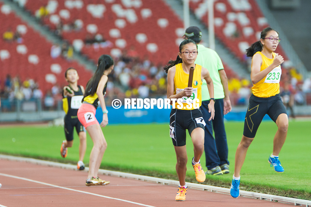 National Stadium, Friday, 28 April, 2017 — Nanyang Girls' High School won both relays in the C Division girls competition, the only titles that eluded the Singapore Sports School as they claimed the other six relay gold medals on offer across the two junior divisions at the 58th National Schools Track and Field Championships. Story: https://www.redsports.sg/2017/05/01/b-c-div-relays-nanyang-girls-sports-school/