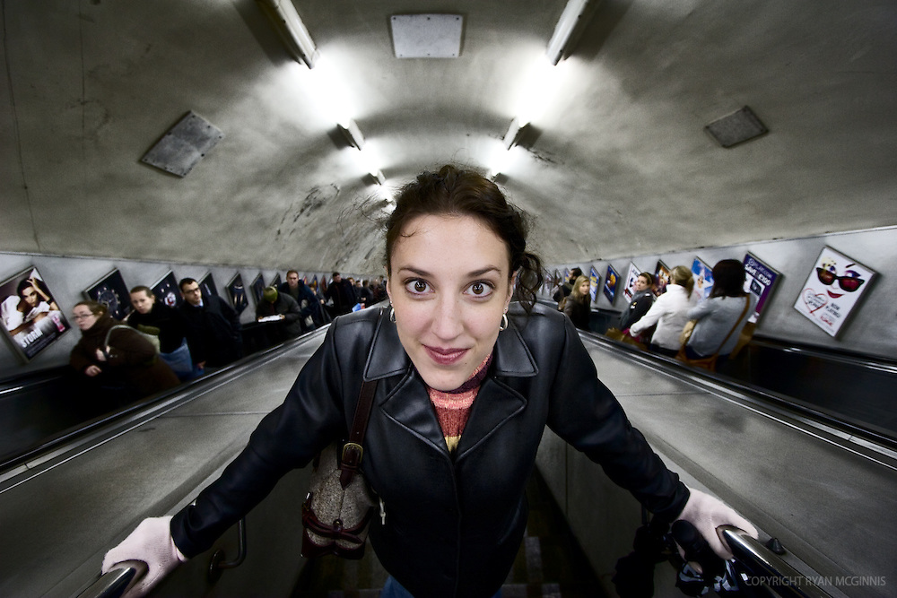 Woman at the tube in London, December 6, 2007.