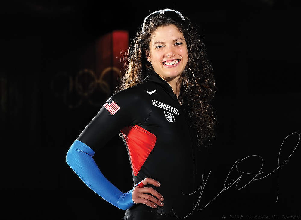 Olympian Nancy Swider-Peltz Jr. poses for a portait during US Long Track Speedskating Championships at the Utah Olympic Oval.