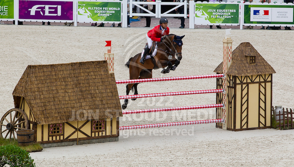 Kent Farrington, (USA), Voyeur - Team & Individual Competition Jumping Speed - Alltech FEI World Equestrian Games™ 2014 - Normandy, France.<br /> © Hippo Foto Team - Leanjo De Koster<br /> 02-09-14