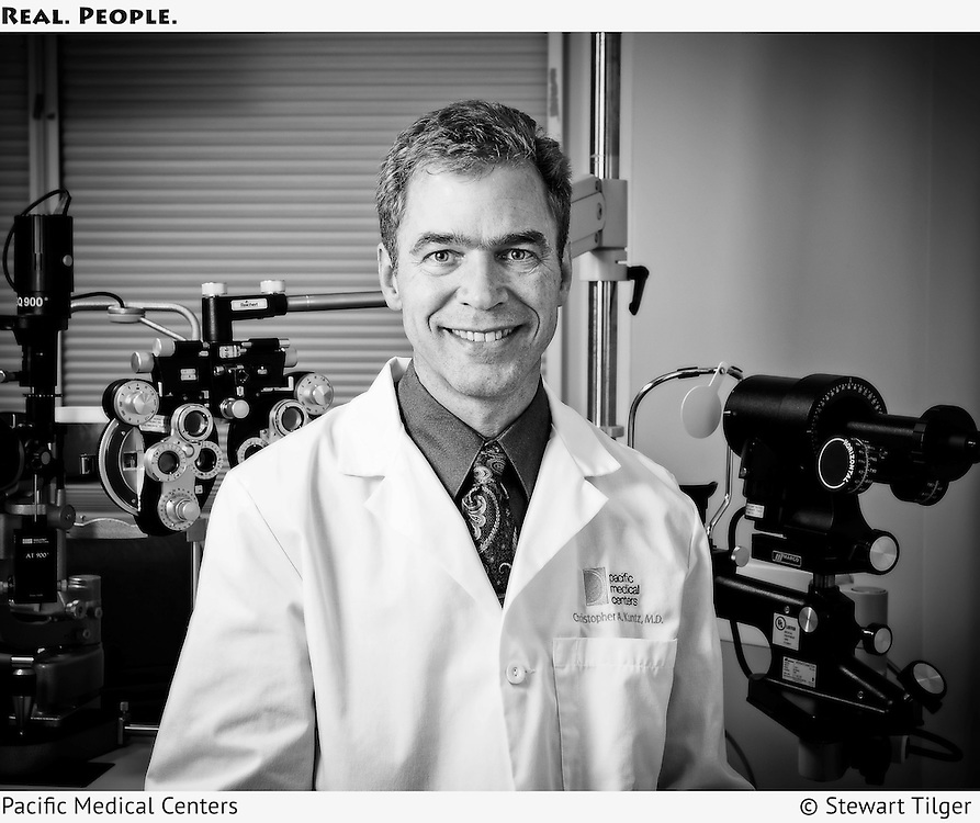 Portrait of a Pacific Medical Center doctor in an eye exam room.