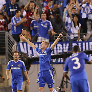 Andre Schurrie, Chelsea, celebrates after scoring his sides second goal during the Chelsea V AC Milan Guinness International Champions Cup tie at MetLife Stadium, East Rutherford, New Jersey, USA.  4th August 2013. Photo Tim Clayton