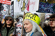 Rally in Parliament Square to oppose extradition to the United States of Julian Assange who is in prison in the UK on February 22nd 2020 in London, Unted Kingdom. Vivienne Westwood wearing the  crown of the Angel of democracy.