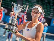 Elizaveta Kulichkova of Russia with her championship trophy after she dominated Jana Fett of Croatia in the Australian Open Junior Girl's Open Singles Final in Melbourne's Rod Laver Arena. Kulichkova won the match 6-2, 6-1.