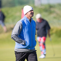 Ruud Gullit at the first hole. Alfred Dunhill Links Championship this morning at Championship Course at Carnoustie.