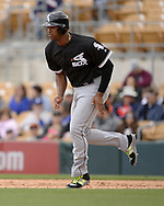 GLENDALE, ARIZONA - FEBRUARY 23:  Eloy Jimenez #74 of the Chicago White Sox runs the bases during the game against the Los Angeles Dodgers on February 23, 2018 at Camelback Ranch in Glendale Arizona.  (Photo by Ron Vesely)  Subject:   Eloy Jimenez
