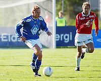 Marius Aam, Aalesund. Are Brodtkorb, Kongsvinger. <br /> <br /> Fotball: Kongsvinger - Aalesund 2-2 (5-2 e. straffer). NM 2004 herrer, 3. runde. 8. juni 2004. (Foto: Peter Tubaas/Digitalsport.