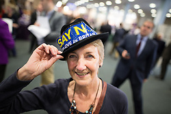 """© Licensed to London News Pictures . 25/09/2015 . Doncaster , UK . A woman wearing a """" Say NO to the EU believe in Britain """" hat at the 2015 UKIP Party Conference at Doncaster Racecourse , this morning (Friday 25th September 2015) . Photo credit : Joel Goodman/LNP"""