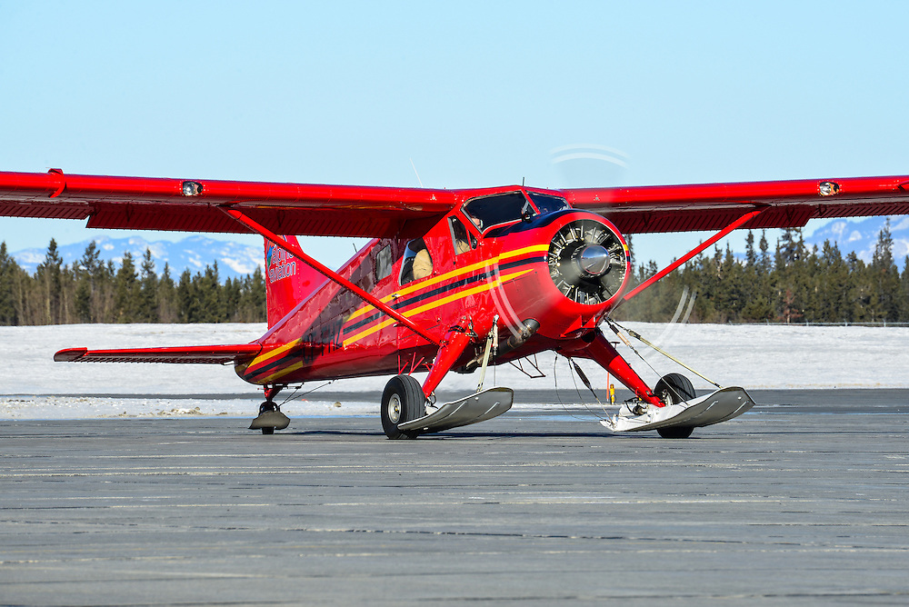 Running up the engine prior to a flight from Whitehorse International Airport