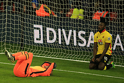 25 February 2017 - Premier League - Watford v West Ham - West Ham goalkeeper Darren Randolph and Isaac Success of Watford reacts after Randolph makes a last minute save from the Watford forward - Photo: Marc Atkins / Offside.