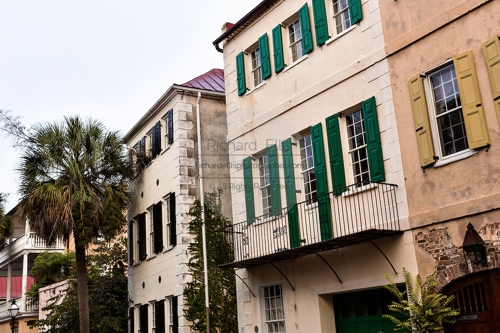 Private homes in the French Quarter along Queen Street in historic Charleston, SC.