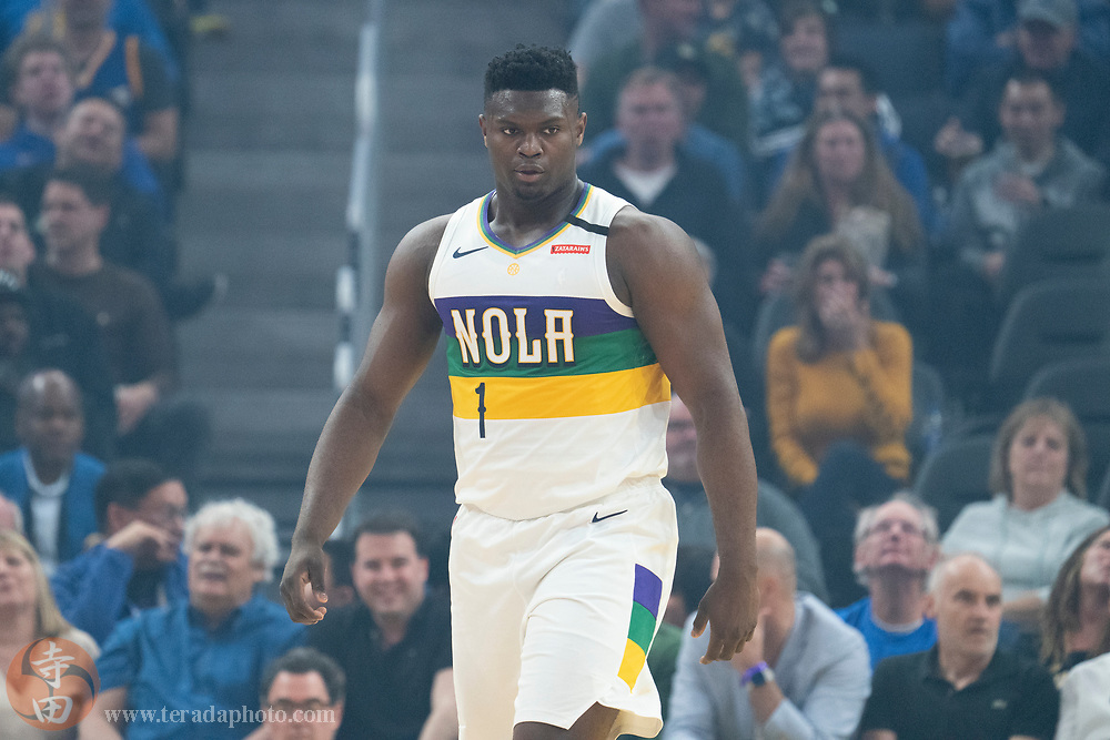 February 23, 2020; San Francisco, California, USA; New Orleans Pelicans forward Zion Williamson (1) during the second quarter against the Golden State Warriors at Chase Center.