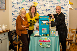 Pictured: Helena Zwavzka, Georia Artus and Gail Porter.<br /> Gail Porter took the opportunity to launch Vintage Vibes Christmas card with Helena Zwavzka (94 on Thursday 16 November) at the Cuckoo's Bakery on Bruntsfield Place in Edinburgh today.