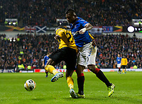 Football - 2019 / 2020 UEFA Europa League - Group G: Rangers vs. BSC Young Boys<br /> <br /> Ulisses Garcia of Young Boys FC vies with Alfredo Morelos of Rangers, at Ibrox Stadium.<br /> <br /> COLORSPORT/BRUCE WHITE