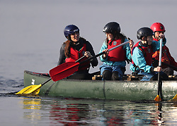 The Duchess of Cambridge takes part in a canoe lesson during her and the Duke of Cambridge's visit to Roscor Youth Village, Co Fermanagh as part of their two day tour of Northern Ireland.