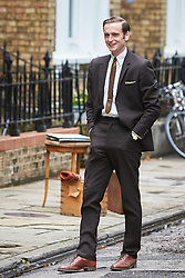 © Licensed to London News Pictures. 19/05/2015. OXFORD, UK. Filming of ITV drama Endeavour, telling the story of the early life of Inspector Morse, taking place in Wellington Square in Oxford.<br /> <br /> In this picture: Jack Laskey (who plays DS Peter Jakes)<br /> <br /> Photo credit : Cliff Hide/LNP