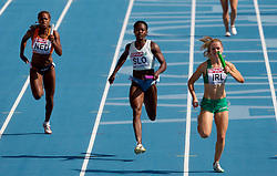 Jamile Samuel of Netherlands, Merlene Ottey of Slovenia and Ailis McSweeney of Ireland compete during  the 4x100m Womens Relay Heats during day five of the 20th European Athletics Championships at the Olympic Stadium on July 31, 2010 in Barcelona, Spain.  (Photo by Vid Ponikvar / Sportida)