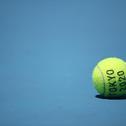 TOKYO, JAPAN - JULY 23: A Tokyo 2020 tennis ball on court one at Ariake Tennis Park in preparation for the Tokyo 2020 Olympic Games on July 223 2021 in Tokyo, Japan. (Photo by Tim Clayton/Corbis via Getty Images)