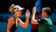 Demi Schuurs of the Netherlands and Gabriela Dabrowski of Canada in action during the doubles semi-final of the Mutua Madrid Open 2021, Masters 1000 tennis tournament on May 7, 2021 at La Caja Magica in Madrid, Spain - Photo Rob Prange / Spain ProSportsImages / DPPI / ProSportsImages / DPPI