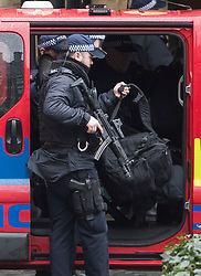 © Licensed to London News Pictures. 13/02/2018. London, UK. A team of armed police at the scene at Parliament where it is being reported that an incident is ongoing involving a suspect package.  Photo credit: Ben Cawthra/LNP