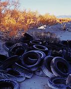 Used tires dumped in the Great Salt Lake Desert, Bonneville Salt Flats, Utah.