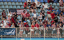 October 10, 2017 - Couva, Caroni County, Trinidad & Tobago - Couva, Trinidad & Tobago - Tuesday Oct. 10, 2017: American Outlaws supporters during a 2018 FIFA World Cup Qualifier between the men's national teams of the United States (USA) and Trinidad & Tobago (TRI) at Ato Boldon Stadium. (Credit Image: © John Dorton/ISIPhotos via ZUMA Wire)