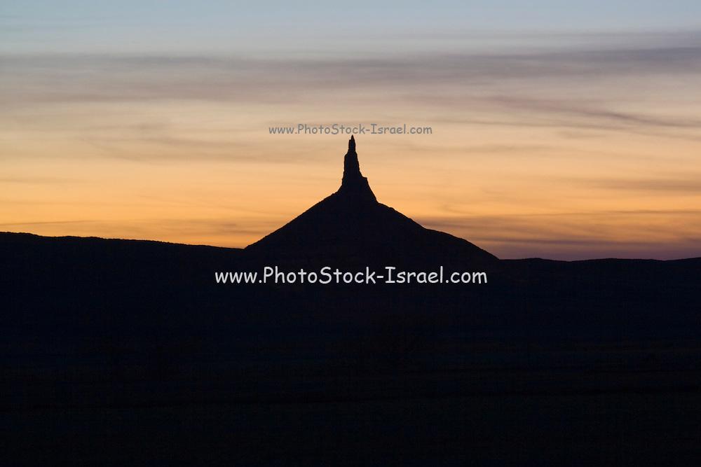 Scottsbluff, Nebraska NE USA, Chimney Rock at sunset
