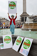On US President Donald Trumps second day of a controversial three-day state visit to the UK, protesters voice their opposition to the 45th American President, in Trafalgar Square, on 4th June 2019, in London England.