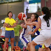 Clementi Sports Hall, Tuesday, April 5, 2016 --- Nanyang Girls' High School (NYGH) beat Deyi Secondary (DYS) 59-40 in the National B Division Basketball Championship. <br /> <br /> This is Nanyang's second win of Round 2 and they qualified for the semi-finals as a result. For Deyi, their second Round 2 loss means they are out of the running for the semi-finals.