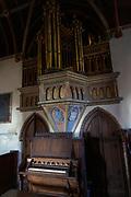 Interior Victorian village parish church of Saint Margaret of Antioch, Leigh Delamere,  Wiltshire, England, UK 1846