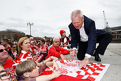 Majority Shareholder Steve Lansdown signs autographs as thousands of fans fill Lloyds Amphitheatre during the Bristol City open top bus parade to celebrate winning both the League 1 and Johnstone's Paint Trophy titles this season and promotion to the Championship - Photo mandatory by-line: Rogan Thomson/JMP - 07966 386802 - 04/05/2015 - SPORT - FOOTBALL - Bristol, England - Bristol City Bus Parade.