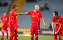 06.12.2012, Stadio Friuli, Udine, ITA, UEFA EL, Udinese Calcio vs FC Liverpool, Gruppe A, im Bild Glen Johnson (# 02, Liverpool FC), Jonjo Shelvey (# 33, Liverpool FC), Stewart Downing (# 19, Liverpool FC) // during the UEFA Europa League group A match between Udinese Calcio and Liverpool FC at the Stadio Friuli, Udinese, Italy on 2012/12/06. EXPA Pictures © 2012, PhotoCredit: EXPA/ Juergen Feichter