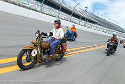 Steve DeCosa riding on the Daytona International Speedway on Thursday before the Friday morning start of the Motorcycle Cannonball Cross-Country Endurance Run. Daytona Beach, FL, USA. September 4, 2014.  Photography ©2014 Michael Lichter.