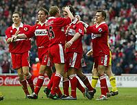 Photo Aidan Ellis.<br /> Middlesbrough v Charlton Athletic.<br /> FA Barclays Premiership.<br /> 27/02/2005.<br /> Boro clebrate the eqaulising goal by Chris Rigott