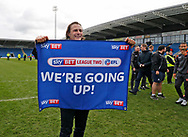 Wycombe Wanderers manager Gareth Ainsworth celebrates promotion during the EFL Sky Bet League 2 match between Chesterfield and Wycombe Wanderers at the b2net stadium, Chesterfield, England on 28 April 2018. Picture by Paul Thompson.