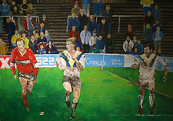 Artwork on display inside the Halliwell Jones Stadium before the Betfred Super League match at The Halliwell Jones Stadium, Warrington.