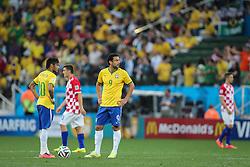 Fred e Neymar na partida contra a Croácia na estréia da Copa do Mundo 2014, na Arena Corinthians, em São Paulo. FOTO: Jefferson Bernardes/ Agência Preview