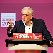 Labour Party leader Jeremy Corbyn debating with his opponent Owen Smith MP at a Labour Party hustings in the SECC on 25th August, 2016 in Glasgow, Scotland.